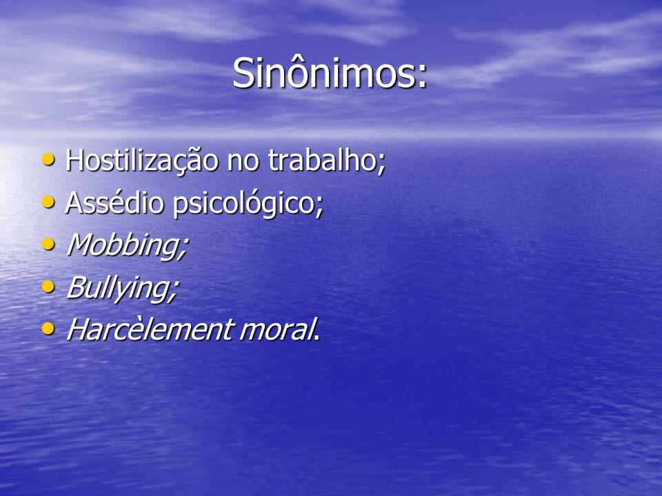 Sinônimos: Hostilização no trabalho; Hostilização no trabalho; Assédio psicológico; Assédio psicológico; Mobbing; Mobbing; Bullying; Bullying; Harcèle