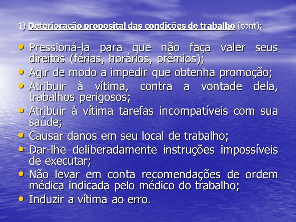1) Deterioração proposital das condições de trabalho (cont): Pressioná-la para que não faça valer seus direitos (férias, horários, prêmios); Pressioná