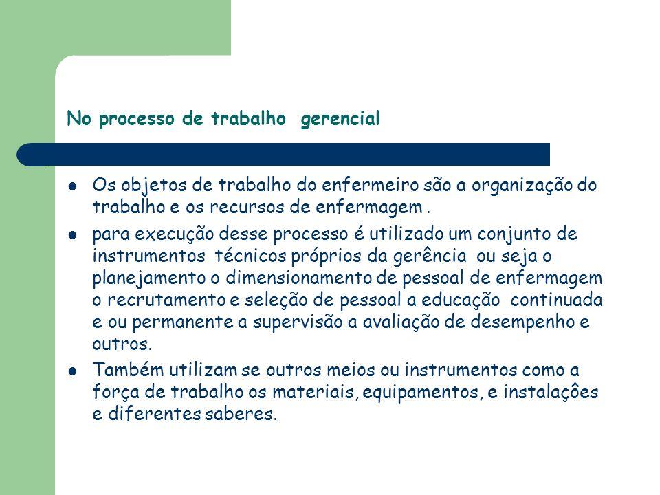 No processo de trabalho gerencial Os objetos de trabalho do enfermeiro são a organização do trabalho e os recursos de enfermagem. para execução desse