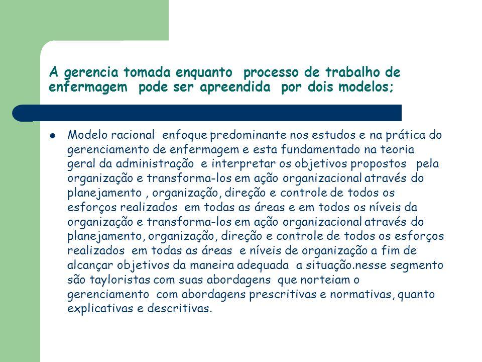 A gerencia tomada enquanto processo de trabalho de enfermagem pode ser apreendida por dois modelos; Modelo racional enfoque predominante nos estudos e