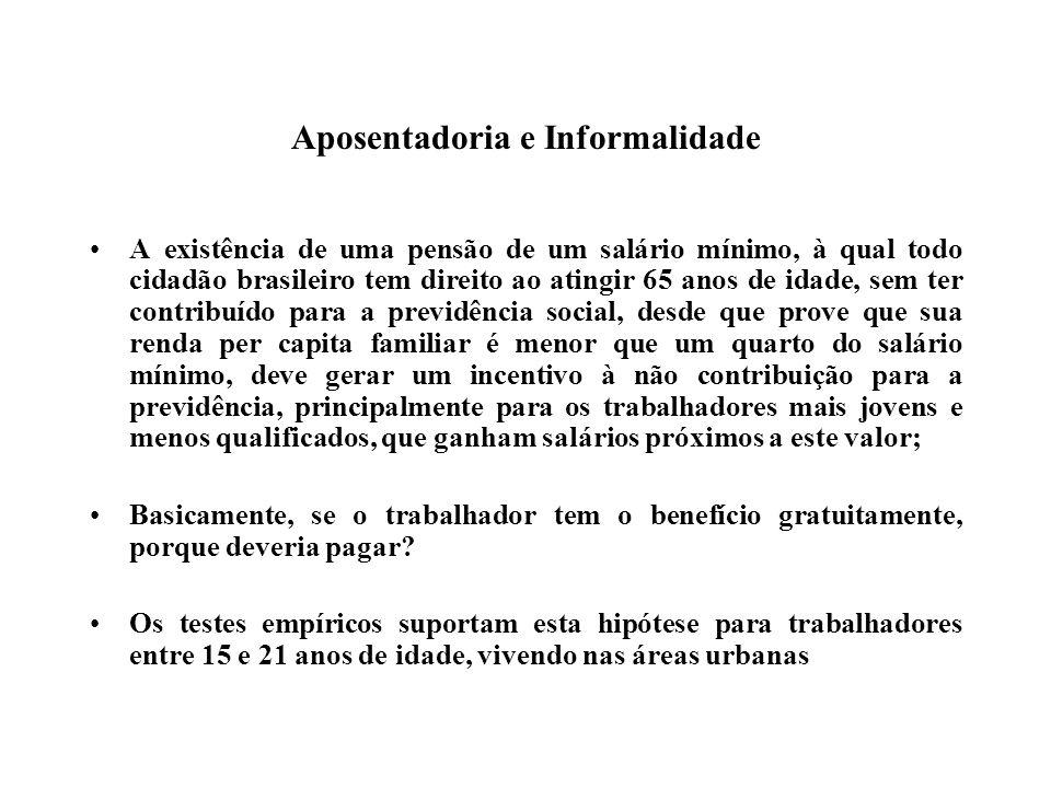 Aposentadoria e Informalidade A existência de uma pensão de um salário mínimo, à qual todo cidadão brasileiro tem direito ao atingir 65 anos de idade, sem ter contribuído para a previdência social, desde que prove que sua renda per capita familiar é menor que um quarto do salário mínimo, deve gerar um incentivo à não contribuição para a previdência, principalmente para os trabalhadores mais jovens e menos qualificados, que ganham salários próximos a este valor; Basicamente, se o trabalhador tem o benefício gratuitamente, porque deveria pagar.