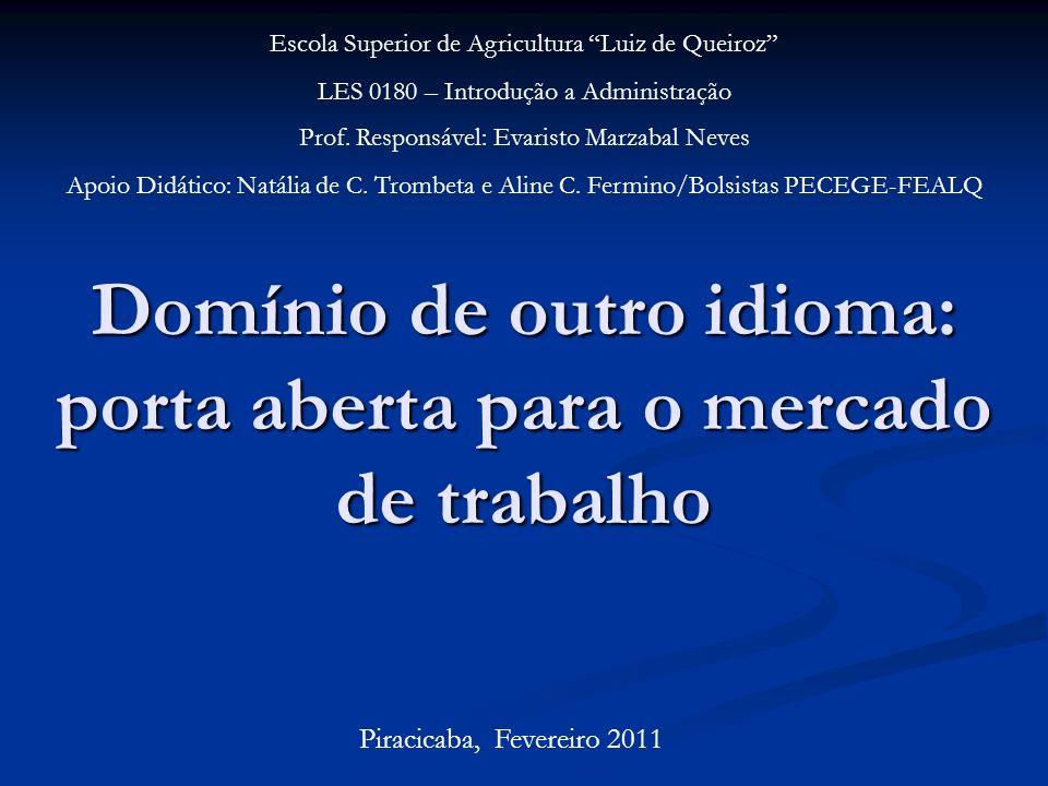 Domínio de outro idioma: porta aberta para o mercado de trabalho Escola Superior de Agricultura Luiz de Queiroz LES 0180 – Introdução a Administração Prof.