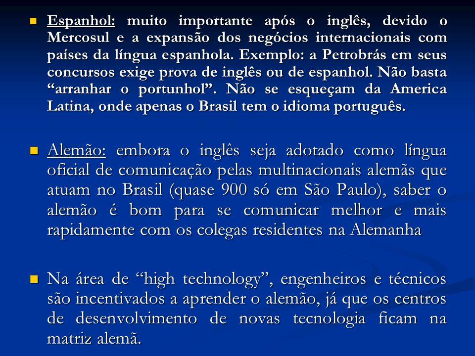 Espanhol: muito importante após o inglês, devido o Mercosul e a expansão dos negócios internacionais com países da língua espanhola.