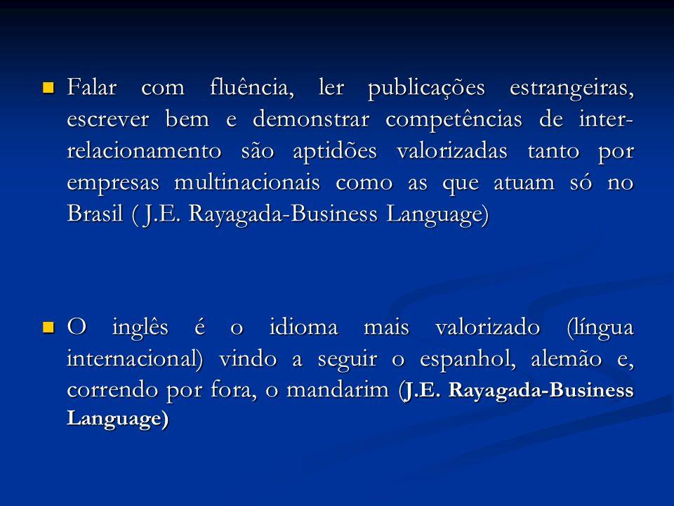 Falar com fluência, ler publicações estrangeiras, escrever bem e demonstrar competências de inter- relacionamento são aptidões valorizadas tanto por empresas multinacionais como as que atuam só no Brasil ( J.E.