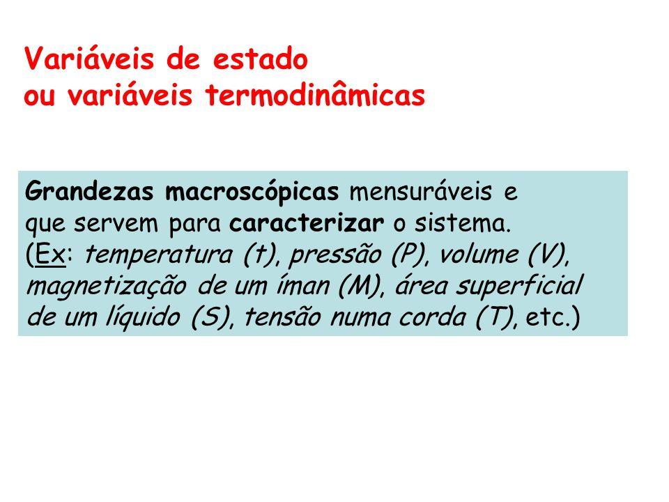 Variáveis de estado ou variáveis termodinâmicas Grandezas macroscópicas mensuráveis e que servem para caracterizar o sistema. (Ex: temperatura (t), pr