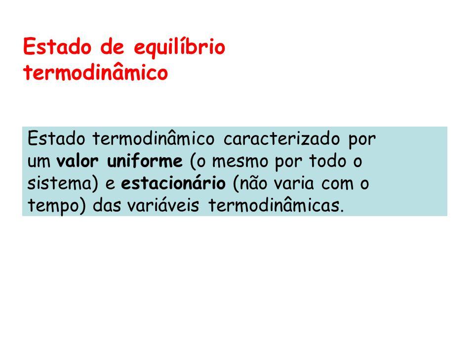 Estado de equilíbrio termodinâmico Estado termodinâmico caracterizado por um valor uniforme (o mesmo por todo o sistema) e estacionário (não varia com
