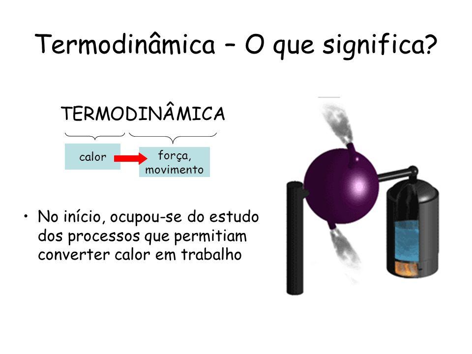 Termodinâmica – O que significa? No início, ocupou-se do estudo dos processos que permitiam converter calor em trabalho calor força, movimento TERMODI