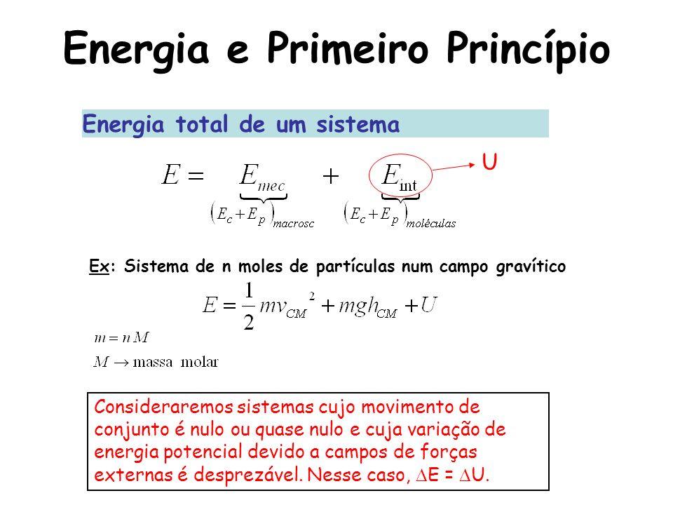 Energia e Primeiro Princípio Energia total de um sistema Ex: Sistema de n moles de partículas num campo gravítico U Consideraremos sistemas cujo movim