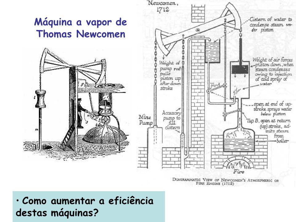 Como aumentar a eficiência destas máquinas? Máquina a vapor de Thomas Newcomen