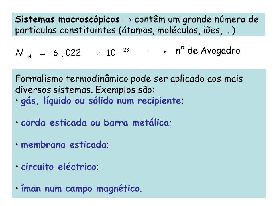 Formalismo termodinâmico pode ser aplicado aos mais diversos sistemas. Exemplos são: gás, líquido ou sólido num recipiente; corda esticada ou barra me