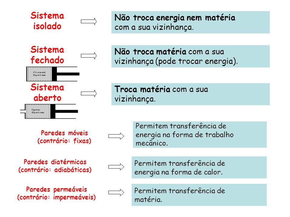 Variáveis de estado ou variáveis termodinâmicas Grandezas macroscópicas mensuráveis e que servem para caracterizar o sistema.