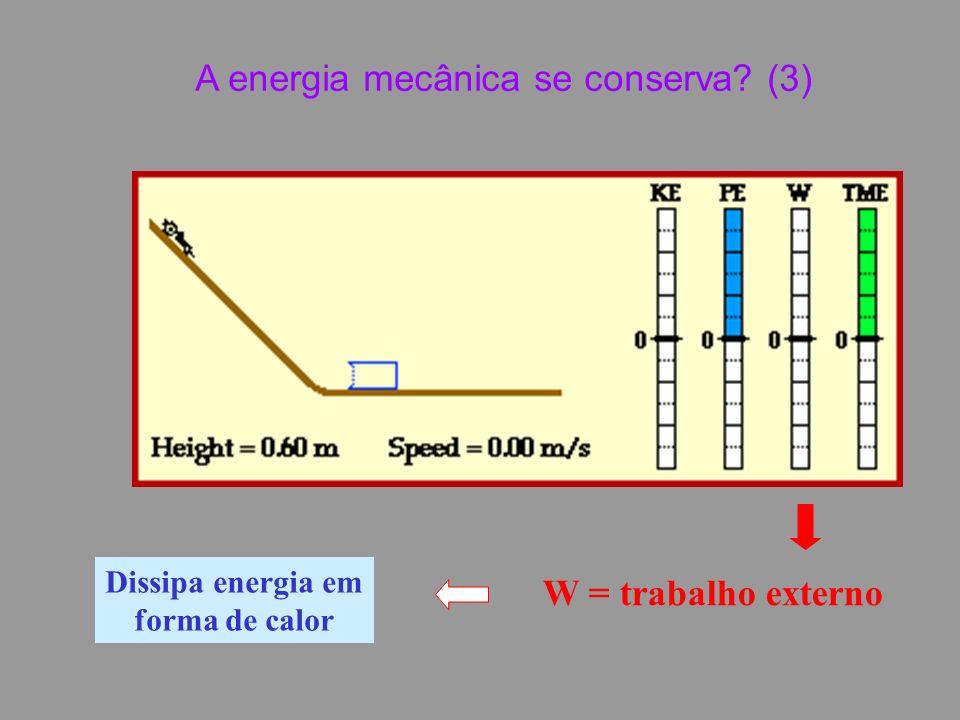 W = trabalho externo Dissipa energia em forma de calor A energia mecânica se conserva (3)