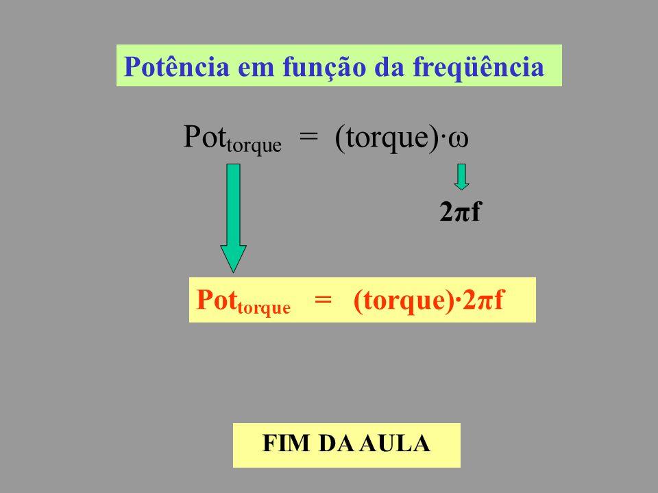 Potência em função da freqüência Pot torque = (torque)·ω 2πf2πf Pot torque = (torque)·2πf FIM DA AULA