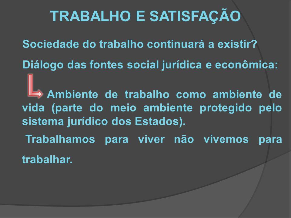 TRABALHO E SATISFAÇÃO Sociedade do trabalho continuará a existir.
