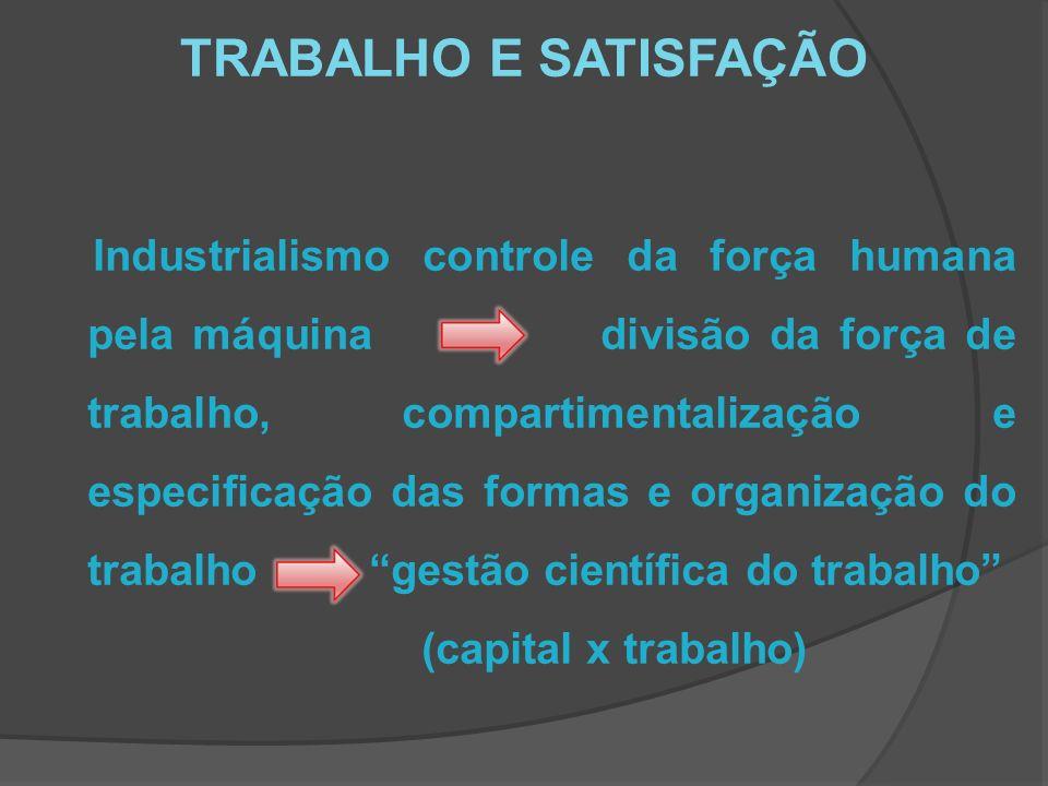 TRABALHO E SATISFAÇÃO Industrialismo controle da força humana pela máquina divisão da força de trabalho, compartimentalização e especificação das formas e organização do trabalho gestão científica do trabalho (capital x trabalho)
