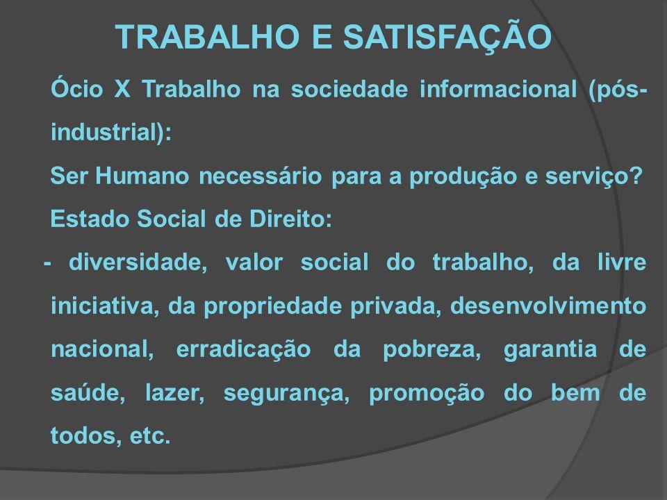 TRABALHO E SATISFAÇÃO Ócio X Trabalho na sociedade informacional (pós- industrial): Ser Humano necessário para a produção e serviço.