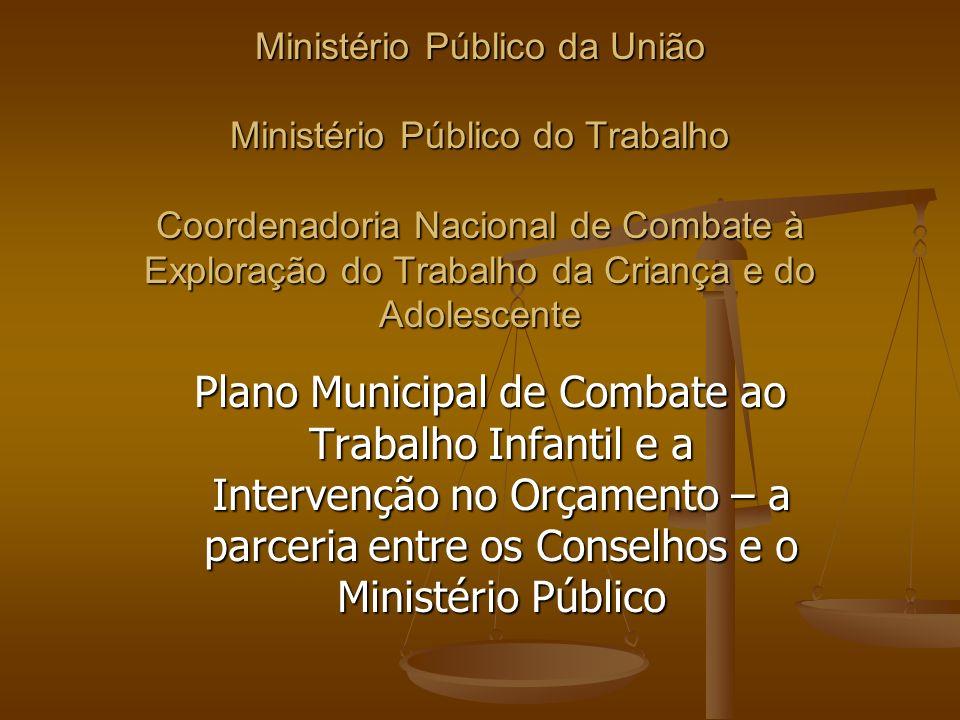 Ministério Público da União Ministério Público do Trabalho Coordenadoria Nacional de Combate à Exploração do Trabalho da Criança e do Adolescente Plan