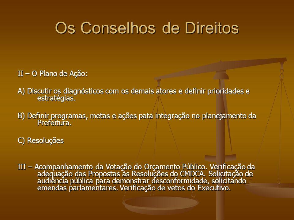 Os Conselhos de Direitos II – O Plano de Ação: A) Discutir os diagnósticos com os demais atores e definir prioridades e estratégias. B) Definir progra