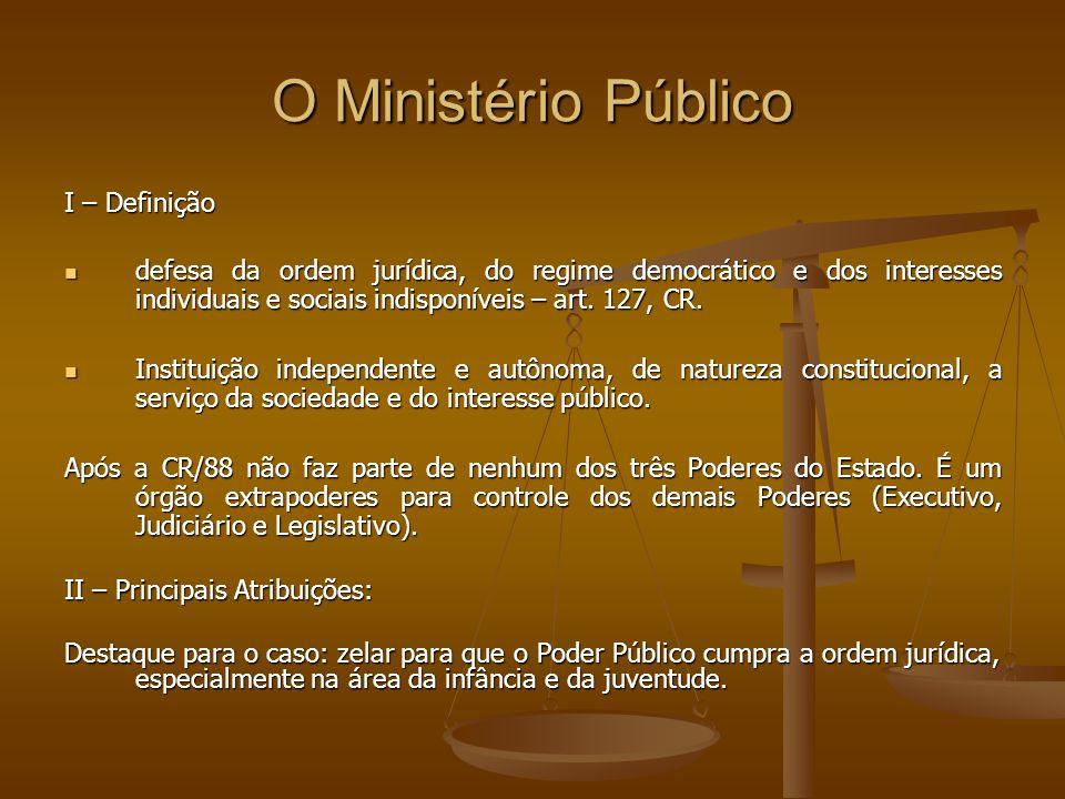 O Ministério Público I – Definição defesa da ordem jurídica, do regime democrático e dos interesses individuais e sociais indisponíveis – art. 127, CR