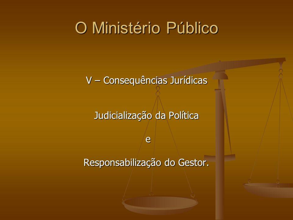 O Ministério Público V – Consequências Jurídicas Judicialização da Política e Responsabilização do Gestor.