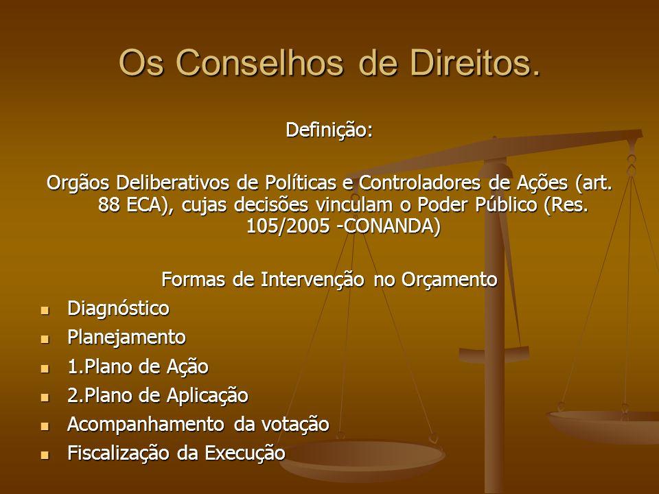 Os Conselhos de Direitos. Definição: Orgãos Deliberativos de Políticas e Controladores de Ações (art. 88 ECA), cujas decisões vinculam o Poder Público