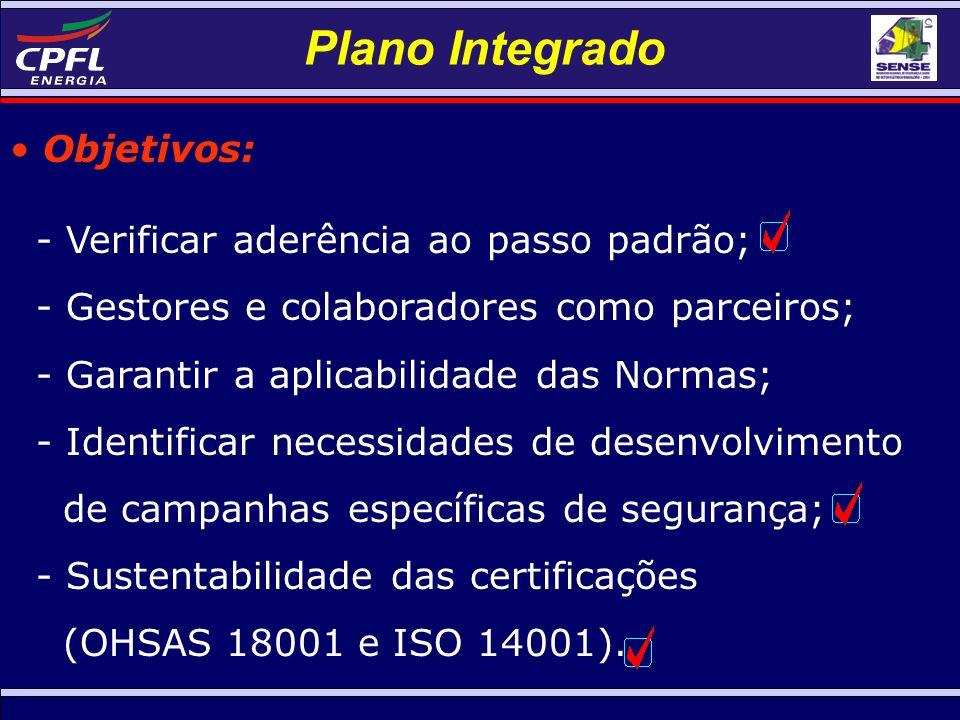 Plano Integrado Objetivos: - Verificar aderência ao passo padrão; - Gestores e colaboradores como parceiros; - Garantir a aplicabilidade das Normas; - Identificar necessidades de desenvolvimento de campanhas específicas de segurança; - Sustentabilidade das certificações (OHSAS 18001 e ISO 14001).