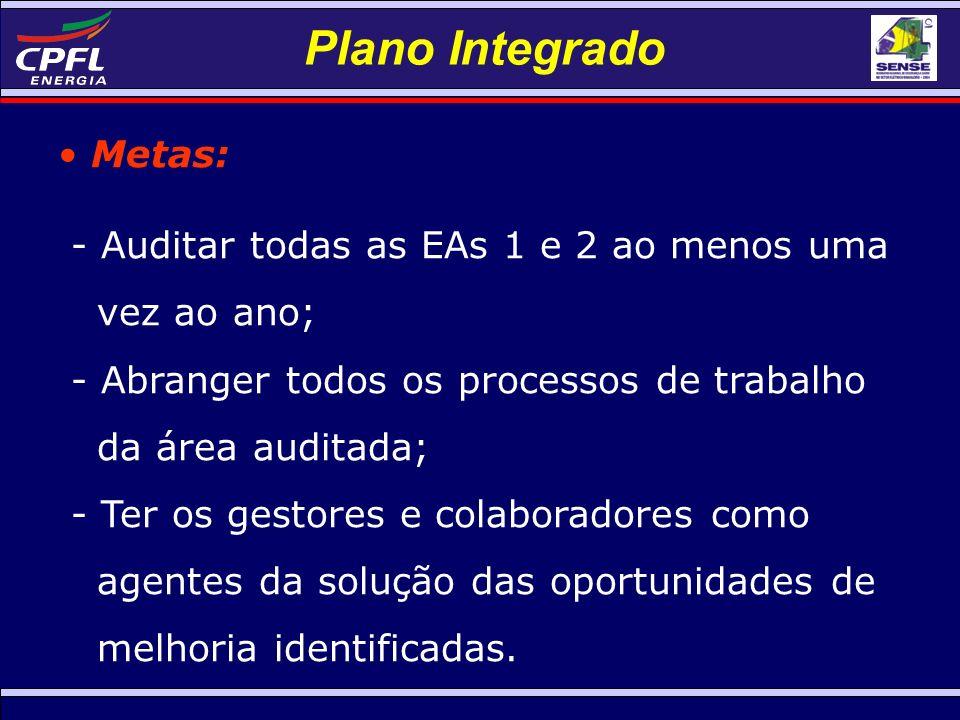 Plano Integrado Metas: - Auditar todas as EAs 1 e 2 ao menos uma vez ao ano; - Abranger todos os processos de trabalho da área auditada; - Ter os gestores e colaboradores como agentes da solução das oportunidades de melhoria identificadas.