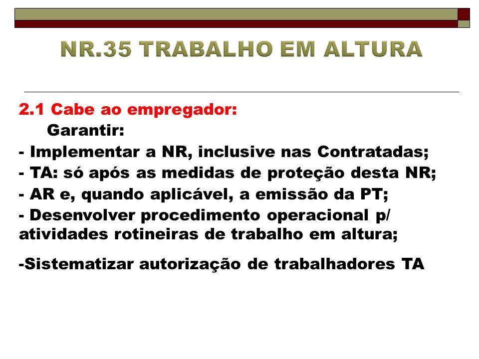 2.1 Cabe ao empregador: Garantir: - Implementar a NR, inclusive nas Contratadas; - TA: só após as medidas de proteção desta NR; - AR e, quando aplicáv