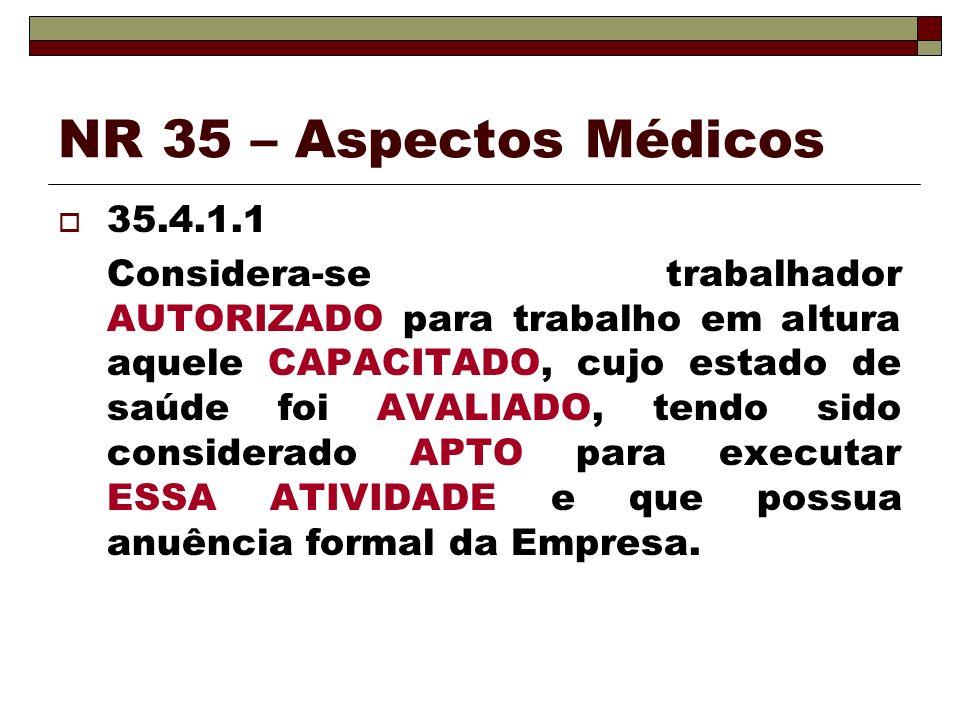 NR 35 – Aspectos Médicos 35.4.1.1 Considera-se trabalhador AUTORIZADO para trabalho em altura aquele CAPACITADO, cujo estado de saúde foi AVALIADO, te