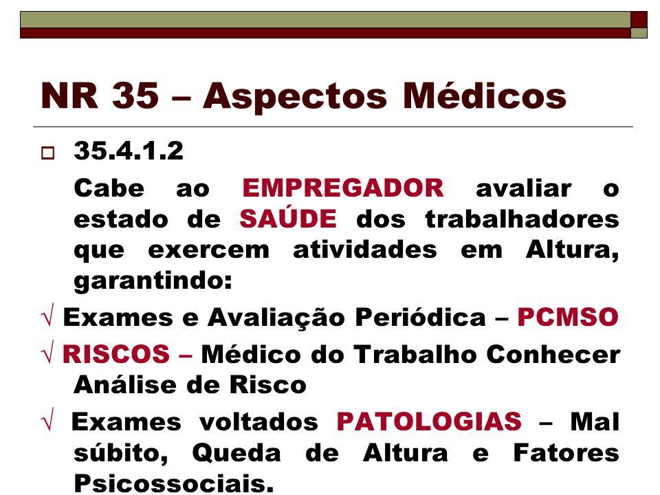 NR 35 – Aspectos Médicos 35.4.1.2 Cabe ao EMPREGADOR avaliar o estado de SAÚDE dos trabalhadores que exercem atividades em Altura, garantindo: Exames