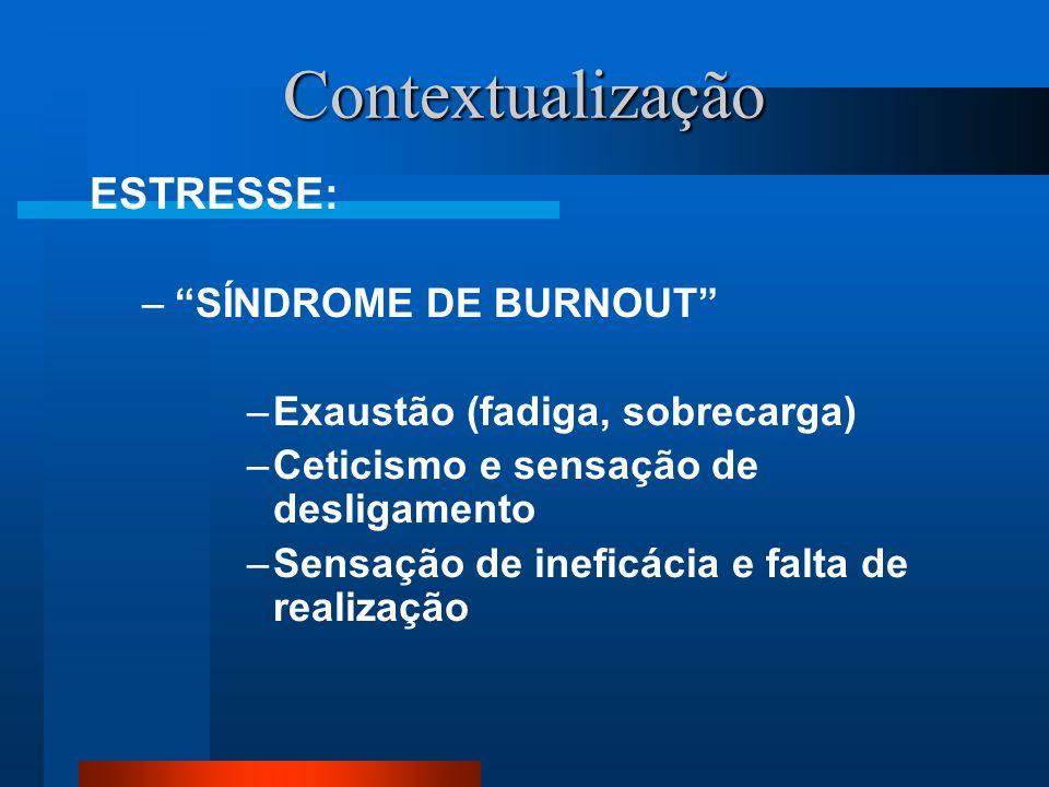 Contextualização ESTRESSE: –SÍNDROME DE BURNOUT –Exaustão (fadiga, sobrecarga) –Ceticismo e sensação de desligamento –Sensação de ineficácia e falta de realização