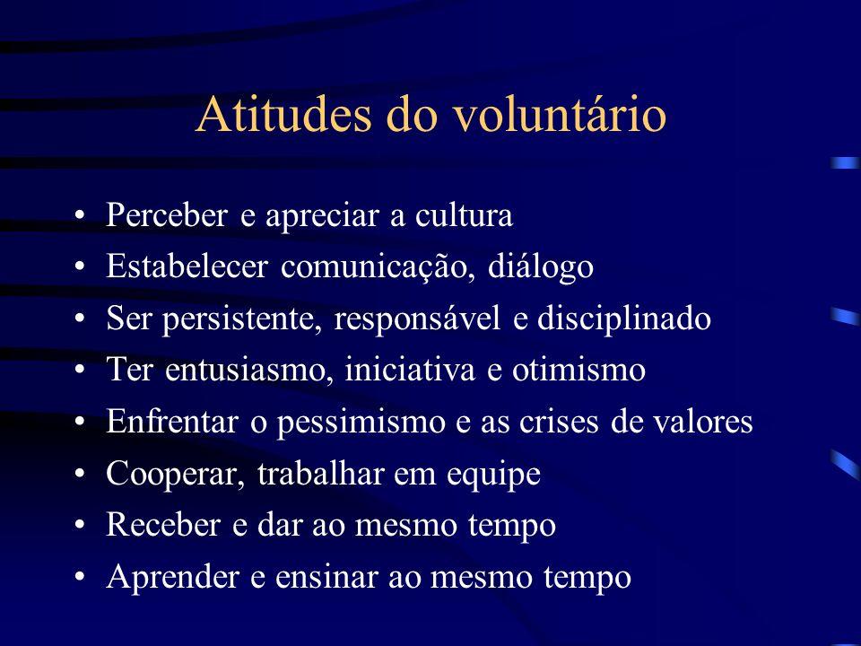 Atitudes do voluntário Perceber e apreciar a cultura Estabelecer comunicação, diálogo Ser persistente, responsável e disciplinado Ter entusiasmo, inic