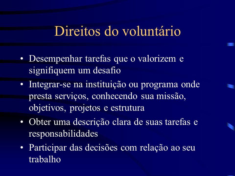 Direitos do voluntário Desempenhar tarefas que o valorizem e signifiquem um desafio Integrar-se na instituição ou programa onde presta serviços, conhe