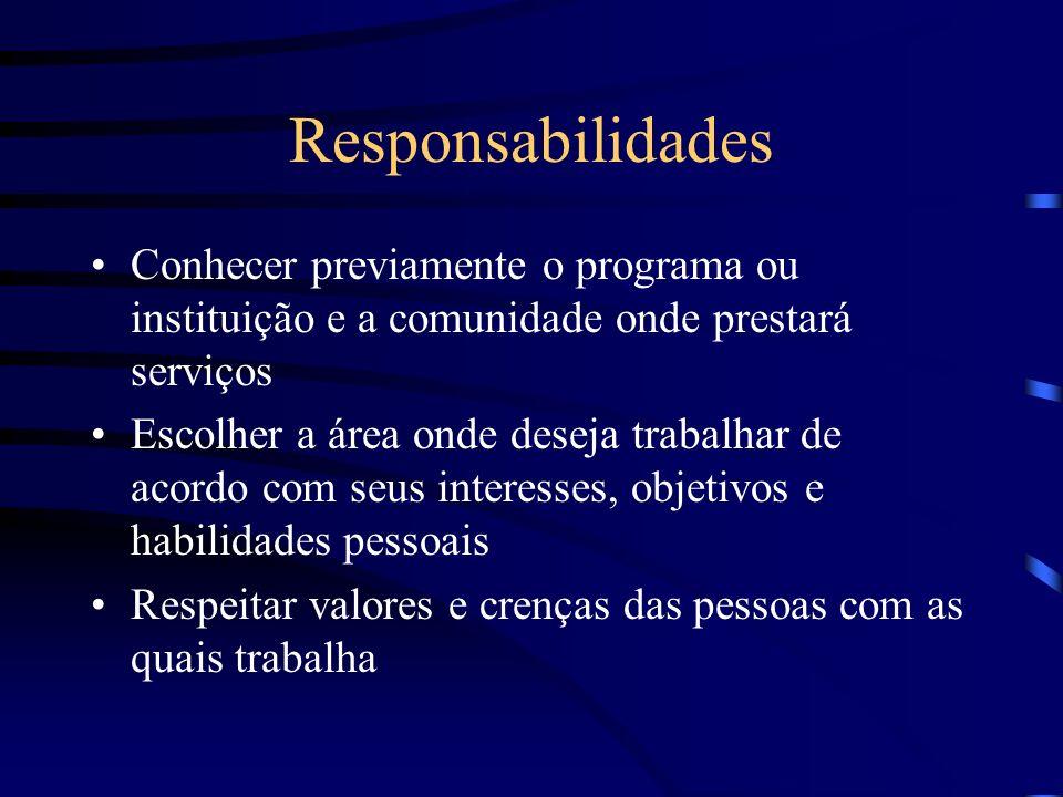 Responsabilidades Conhecer previamente o programa ou instituição e a comunidade onde prestará serviços Escolher a área onde deseja trabalhar de acordo