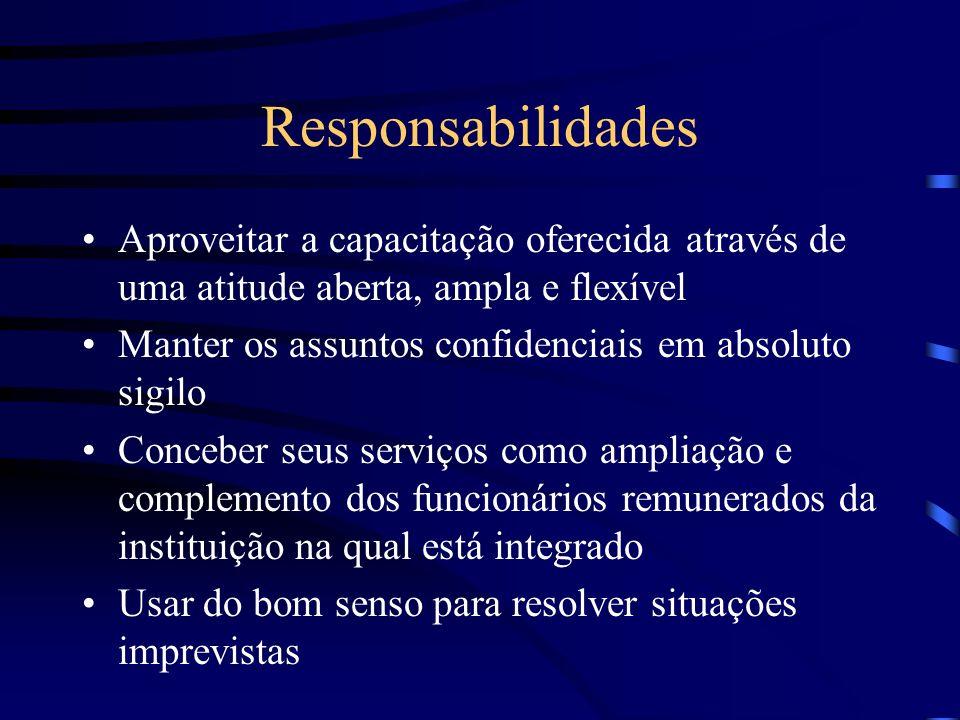 Responsabilidades Aproveitar a capacitação oferecida através de uma atitude aberta, ampla e flexível Manter os assuntos confidenciais em absoluto sigi