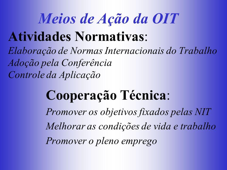 Atividades Normativas: Elaboração de Normas Internacionais do Trabalho Adoção pela Conferência Controle da Aplicação Cooperação Técnica: Promover os o
