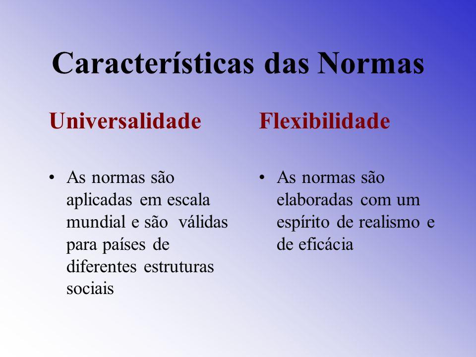 Características das Normas Universalidade As normas são aplicadas em escala mundial e são válidas para países de diferentes estruturas sociais Flexibi