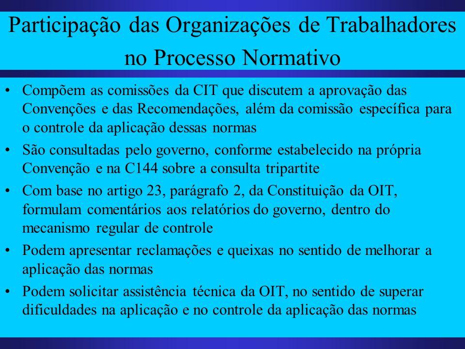 Participação das Organizações de Trabalhadores no Processo Normativo Compõem as comissões da CIT que discutem a aprovação das Convenções e das Recomen