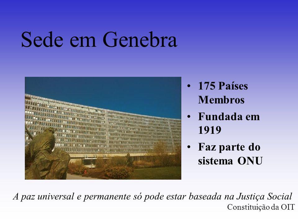 Sede em Genebra 175 Países Membros Fundada em 1919 Faz parte do sistema ONU A paz universal e permanente só pode estar baseada na Justiça Social Const