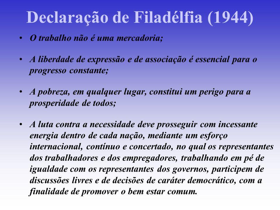 Declaração de Filadélfia (1944) O trabalho não é uma mercadoria; A liberdade de expressão e de associação é essencial para o progresso constante; A po