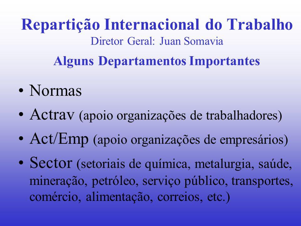 Conselho de Administração Mesa (Presidente, vice-trabalhador, vice-empresário) Plenária (votam os efetivos) –GT sobre Dimensão Social da Globalização Comissões e Grupos de Trabalho (efetivos e adjuntos) –Comitê de Liberdade Sindical –Programa, Orçamento e Administração –Questões Jurídicas e Normas –Emprego e Política Social –Cooperação Técnica –Reuniões Técnicas e Setoriais –Sub-comissão de Empresas Multinacionais –GT sobre Política de Revisão de Normas