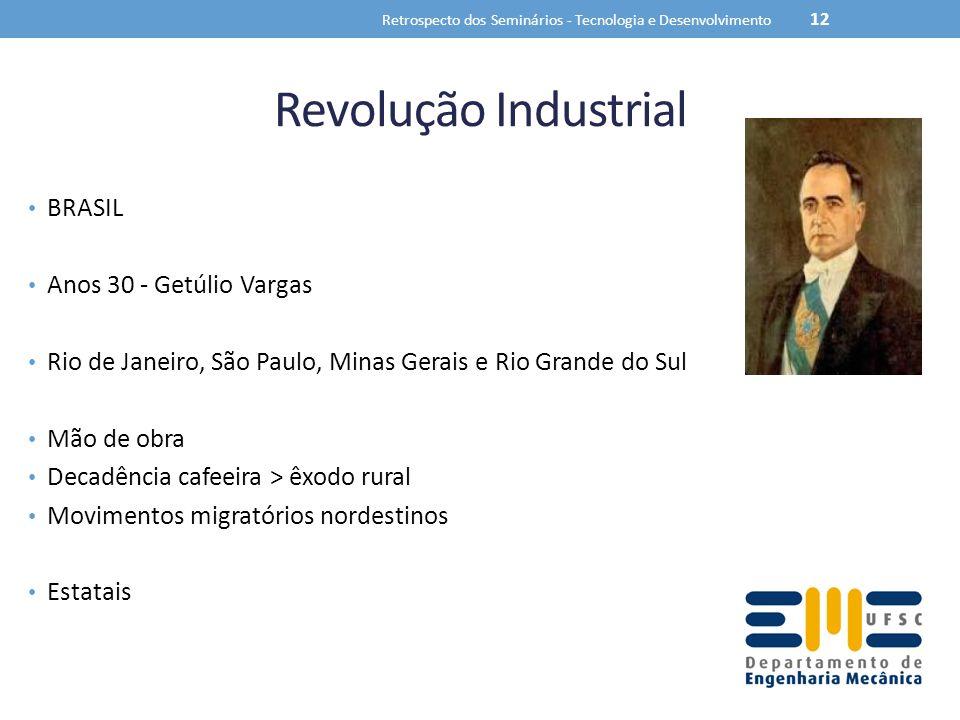 Revolução Industrial BRASIL Anos 30 - Getúlio Vargas Rio de Janeiro, São Paulo, Minas Gerais e Rio Grande do Sul Mão de obra Decadência cafeeira > êxo
