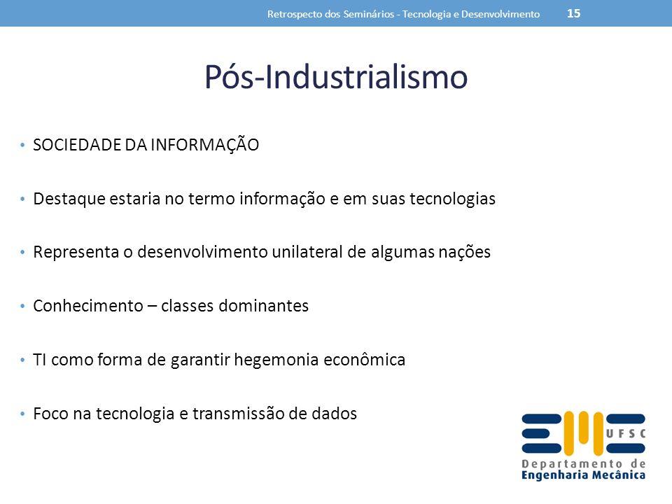 Pós-Industrialismo SOCIEDADE DA INFORMAÇÃO Destaque estaria no termo informação e em suas tecnologias Representa o desenvolvimento unilateral de algum