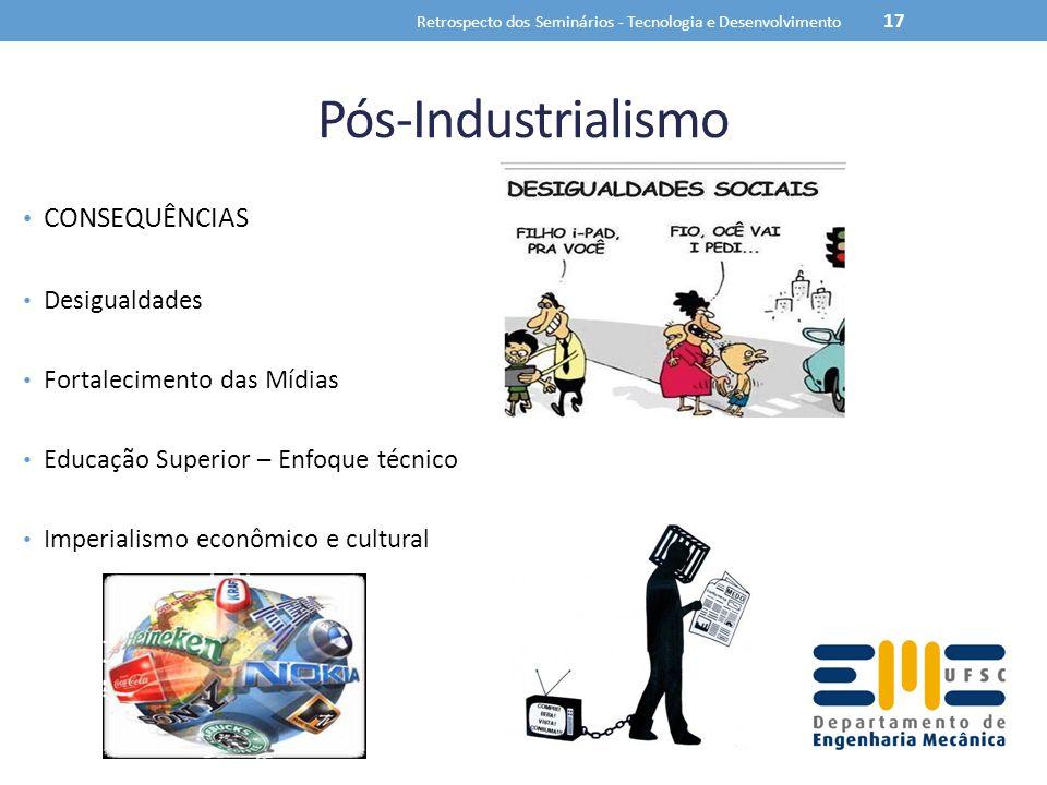 Pós-Industrialismo CONSEQUÊNCIAS Desigualdades Fortalecimento das Mídias Educação Superior – Enfoque técnico Imperialismo econômico e cultural Retrosp