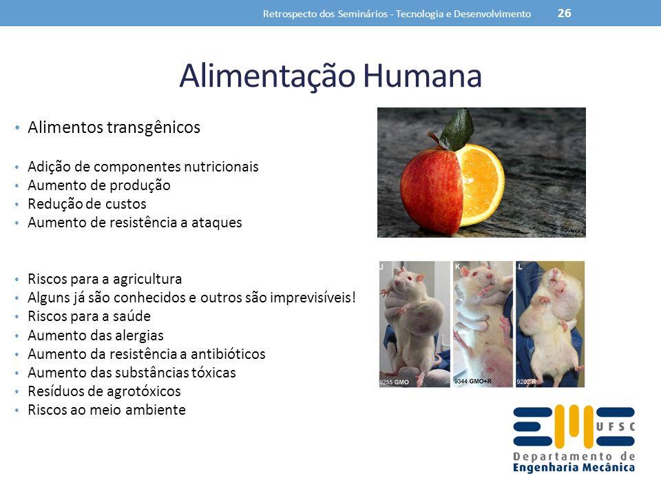 Alimentação Humana Alimentos transgênicos Adição de componentes nutricionais Aumento de produção Redução de custos Aumento de resistência a ataques Ri