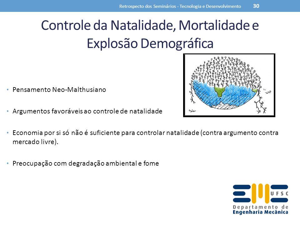 Controle da Natalidade, Mortalidade e Explosão Demográfica Pensamento Neo-Malthusiano Argumentos favoráveis ao controle de natalidade Economia por si