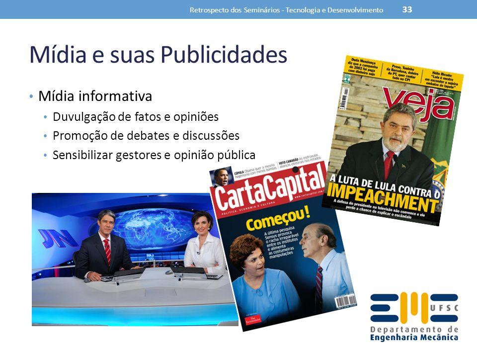 Mídia e suas Publicidades Mídia informativa Duvulgação de fatos e opiniões Promoção de debates e discussões Sensibilizar gestores e opinião pública Retrospecto dos Seminários - Tecnologia e Desenvolvimento 33