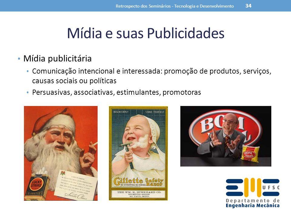 Mídia e suas Publicidades Mídia publicitária Comunicação intencional e interessada: promoção de produtos, serviços, causas sociais ou políticas Persuasivas, associativas, estimulantes, promotoras Retrospecto dos Seminários - Tecnologia e Desenvolvimento 34