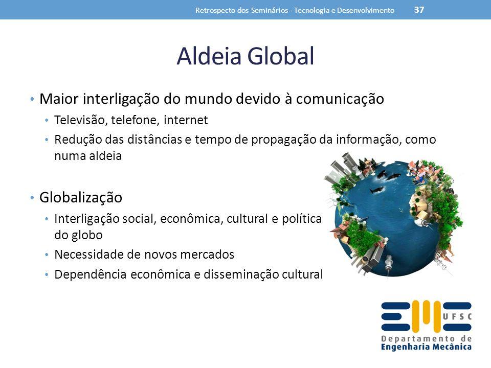 Aldeia Global Maior interligação do mundo devido à comunicação Televisão, telefone, internet Redução das distâncias e tempo de propagação da informaçã
