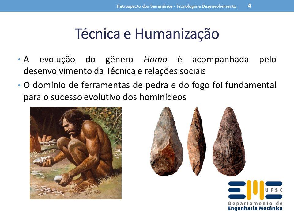 Técnica e Humanização A evolução do gênero Homo é acompanhada pelo desenvolvimento da Técnica e relações sociais O domínio de ferramentas de pedra e d